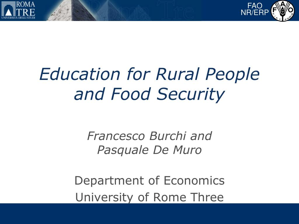 education for rural people and food security l.