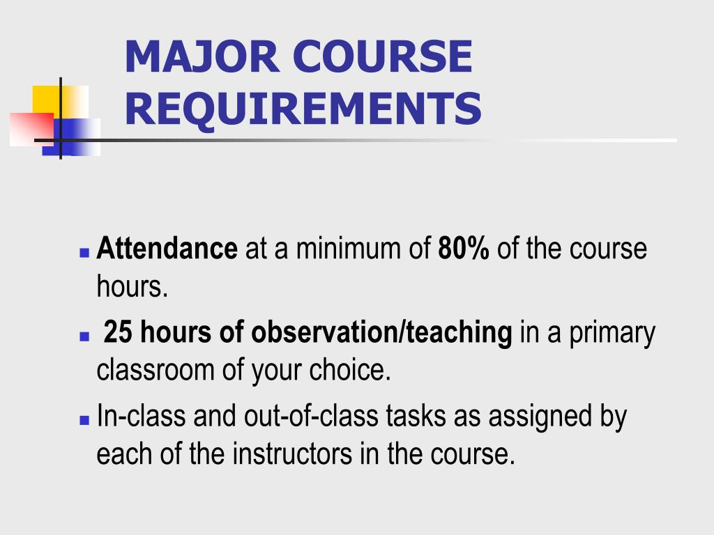 MAJOR COURSE REQUIREMENTS