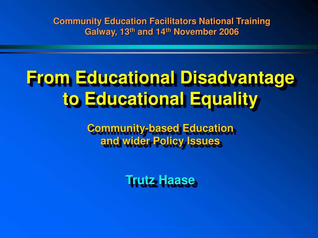 From Educational Disadvantage