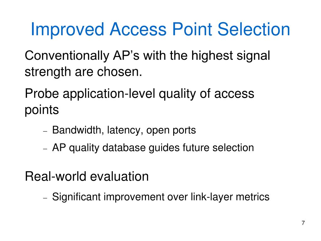 Improved Access Point Selection
