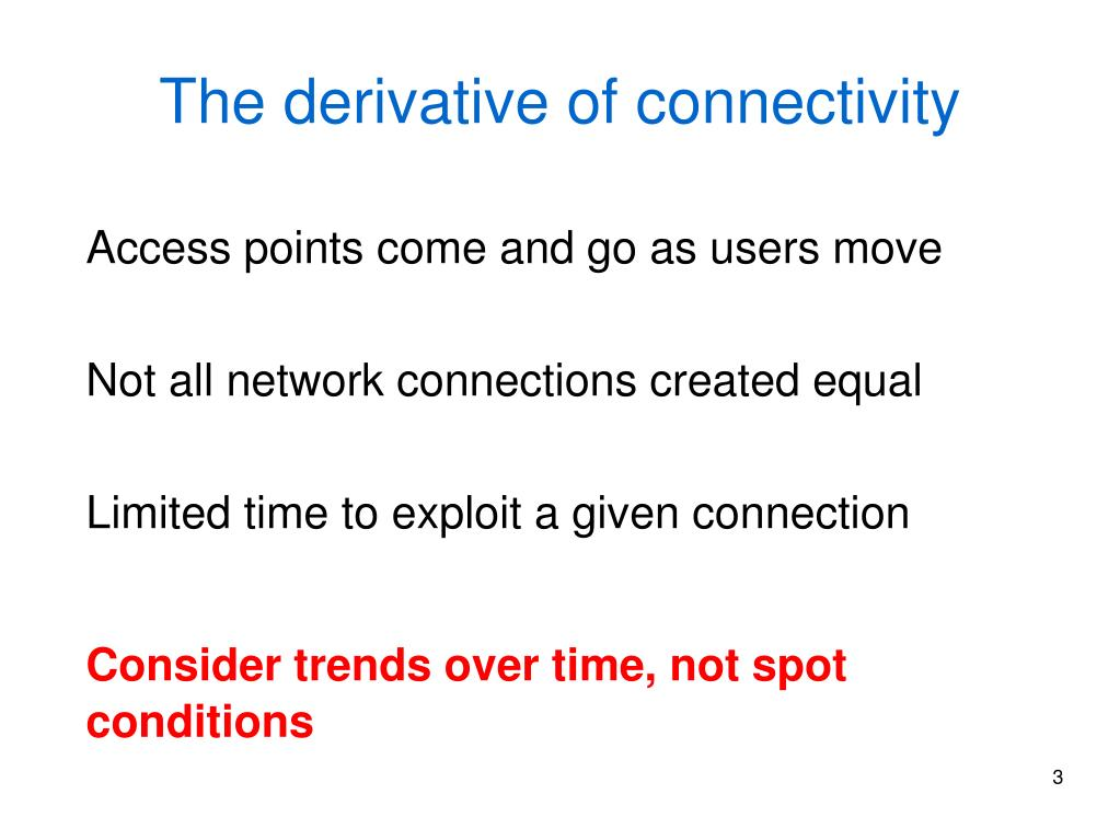 The derivative of connectivity