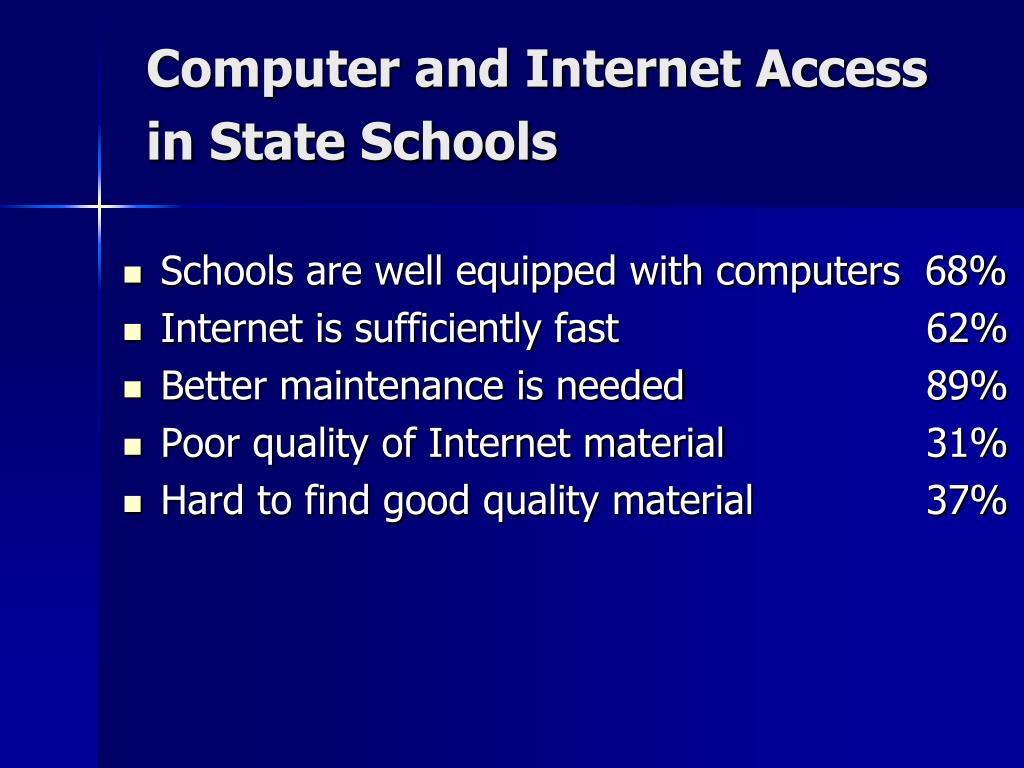 Computer and Internet Access in State Schools