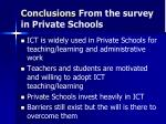 conclusions from the survey in private schools