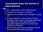 conclusions from the survey in state schools