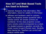 how ict and web based tools are used in schools