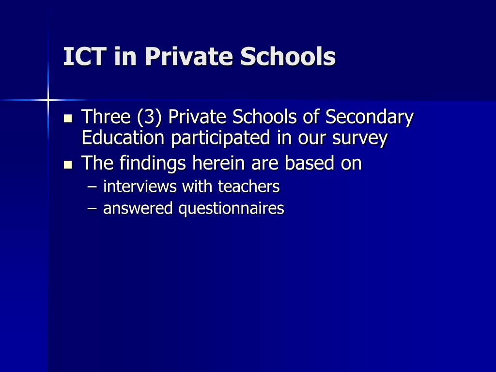 ICT in Private Schools