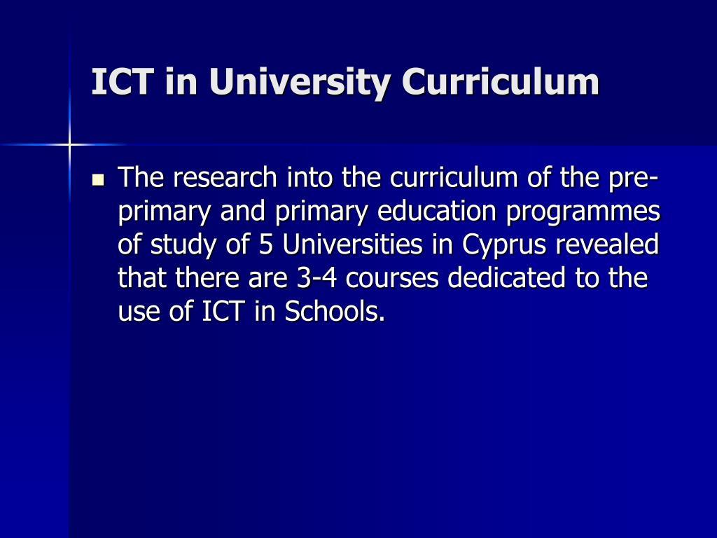 ICT in University Curriculum