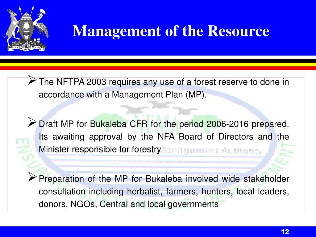 Management of the Resource