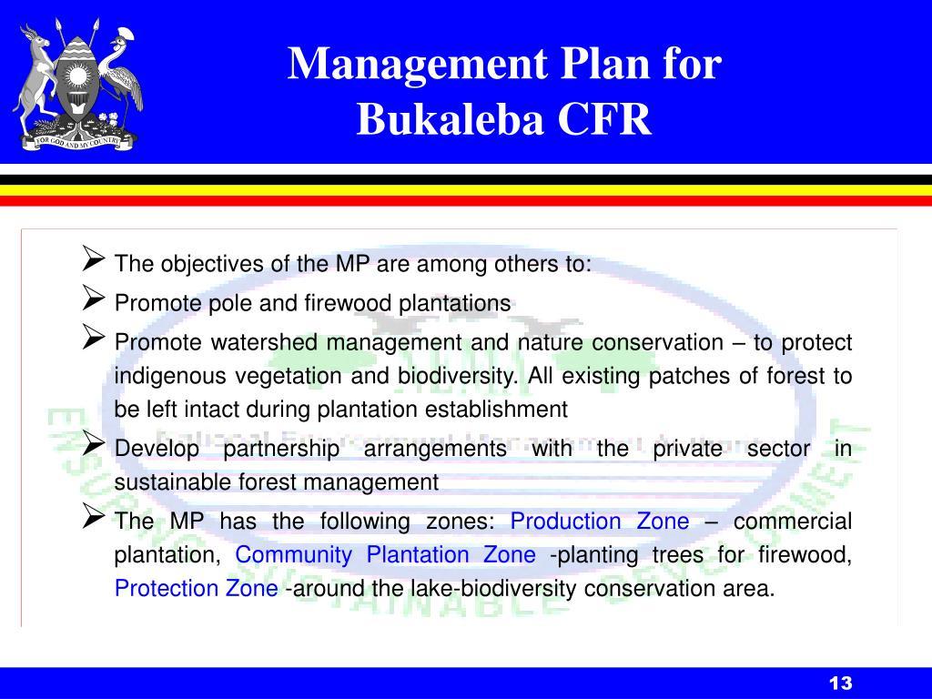 Management Plan for Bukaleba CFR