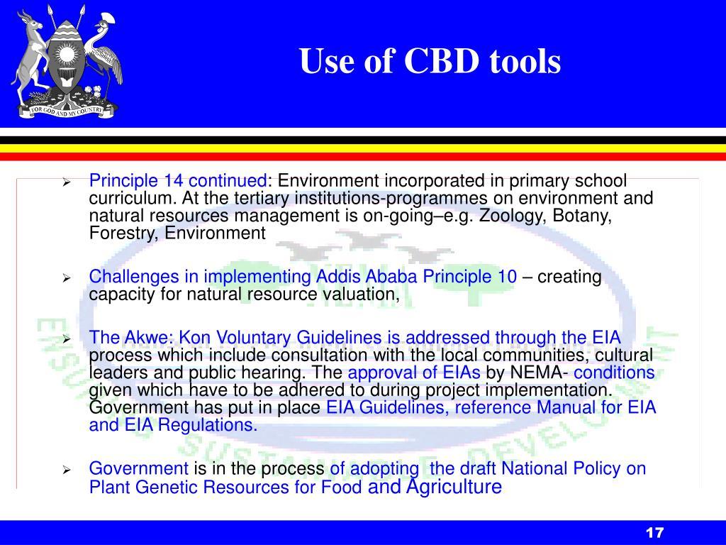 Use of CBD tools