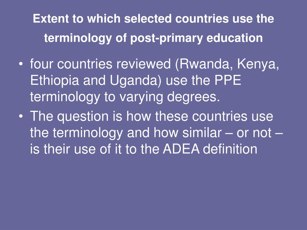 Extent to which selected countries use the terminology of post-primary education