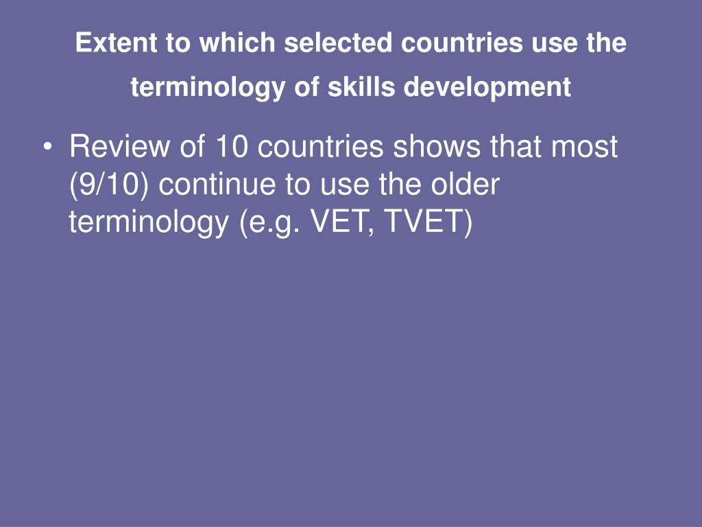 Extent to which selected countries use the terminology of skills development