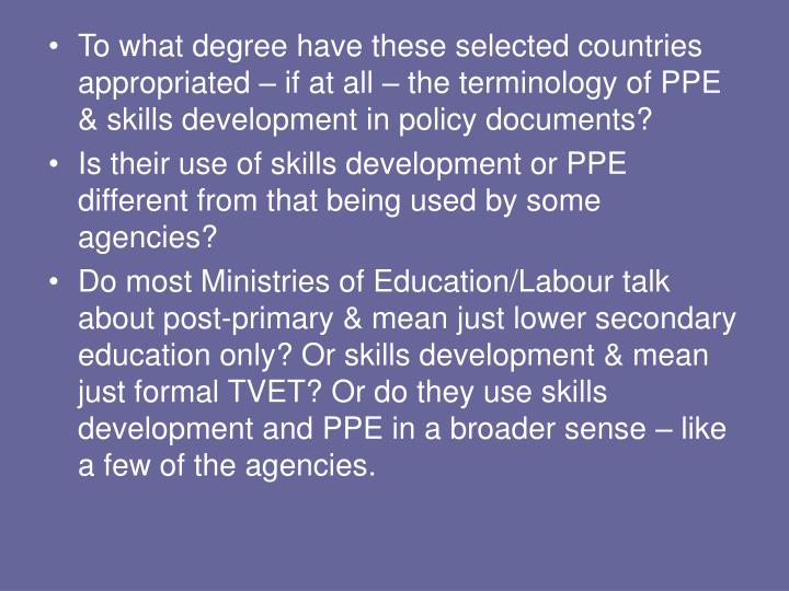 To what degree have these selected countries appropriated – if at all – the terminology of PPE &...