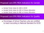 proposed core efa mda indicators for gender