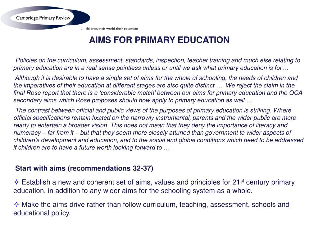 AIMS FOR PRIMARY EDUCATION