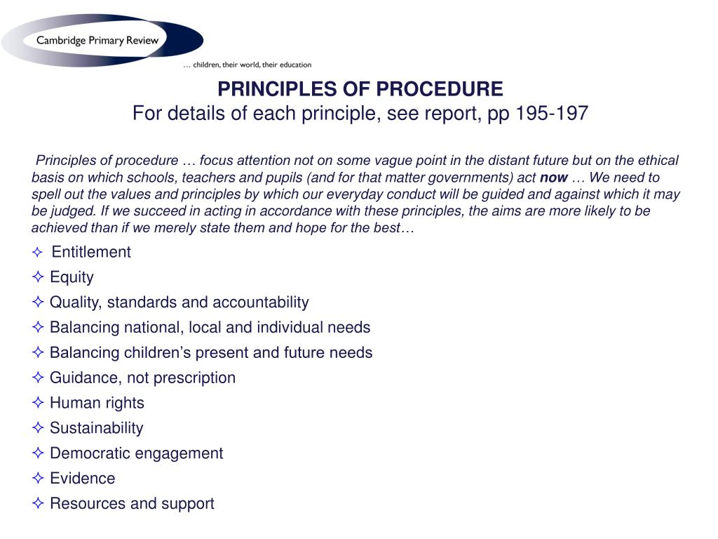 PRINCIPLES OF PROCEDURE