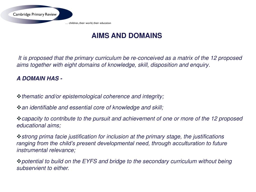 AIMS AND DOMAINS