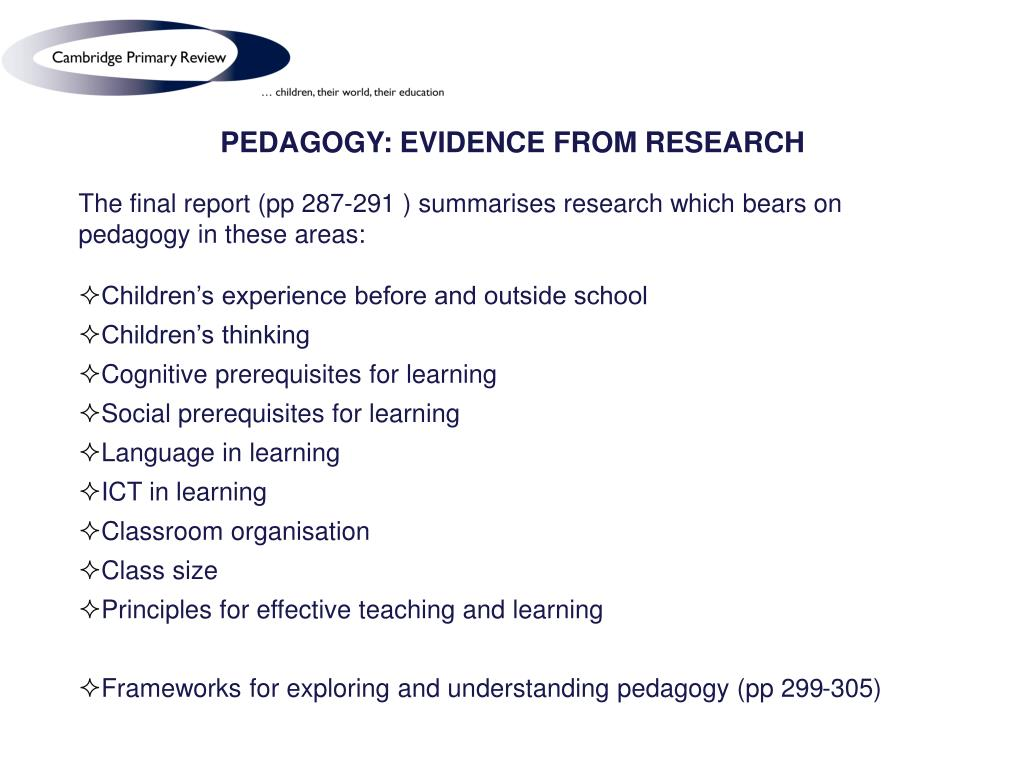 PEDAGOGY: EVIDENCE FROM RESEARCH