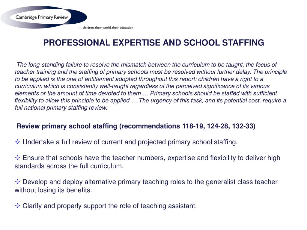 PROFESSIONAL EXPERTISE AND SCHOOL STAFFING