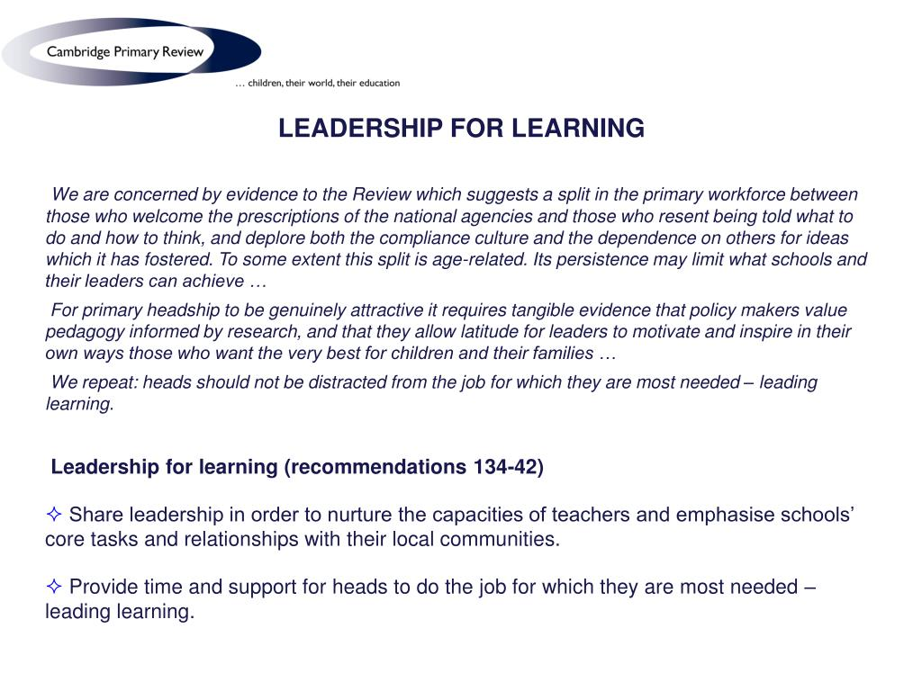 LEADERSHIP FOR LEARNING