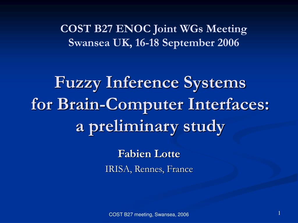 fuzzy inference systems for brain computer interfaces a preliminary study l.