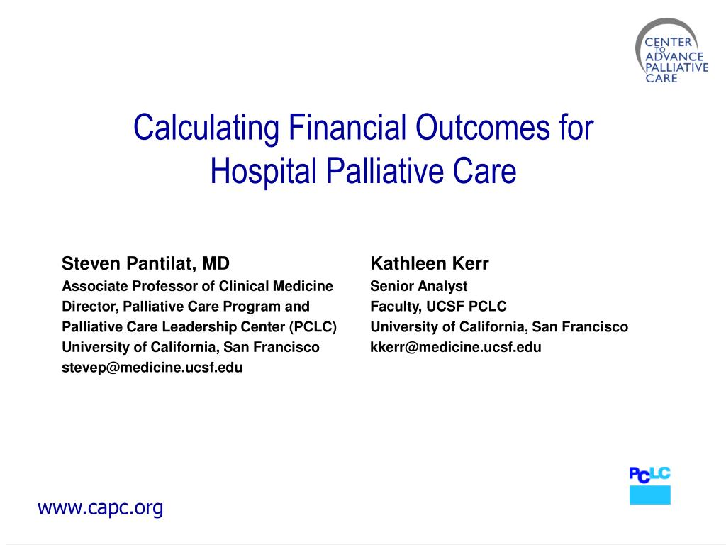 calculating financial outcomes for hospital palliative care l.