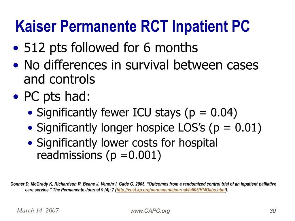 Kaiser Permanente RCT Inpatient PC