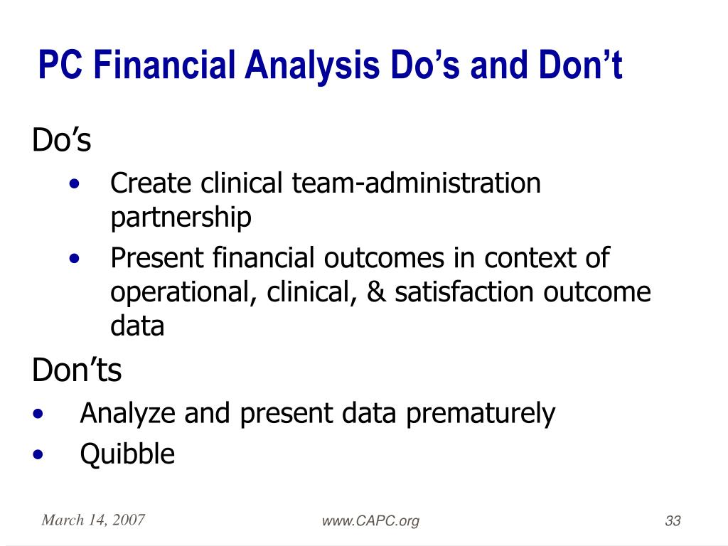 PC Financial Analysis Do's and Don't