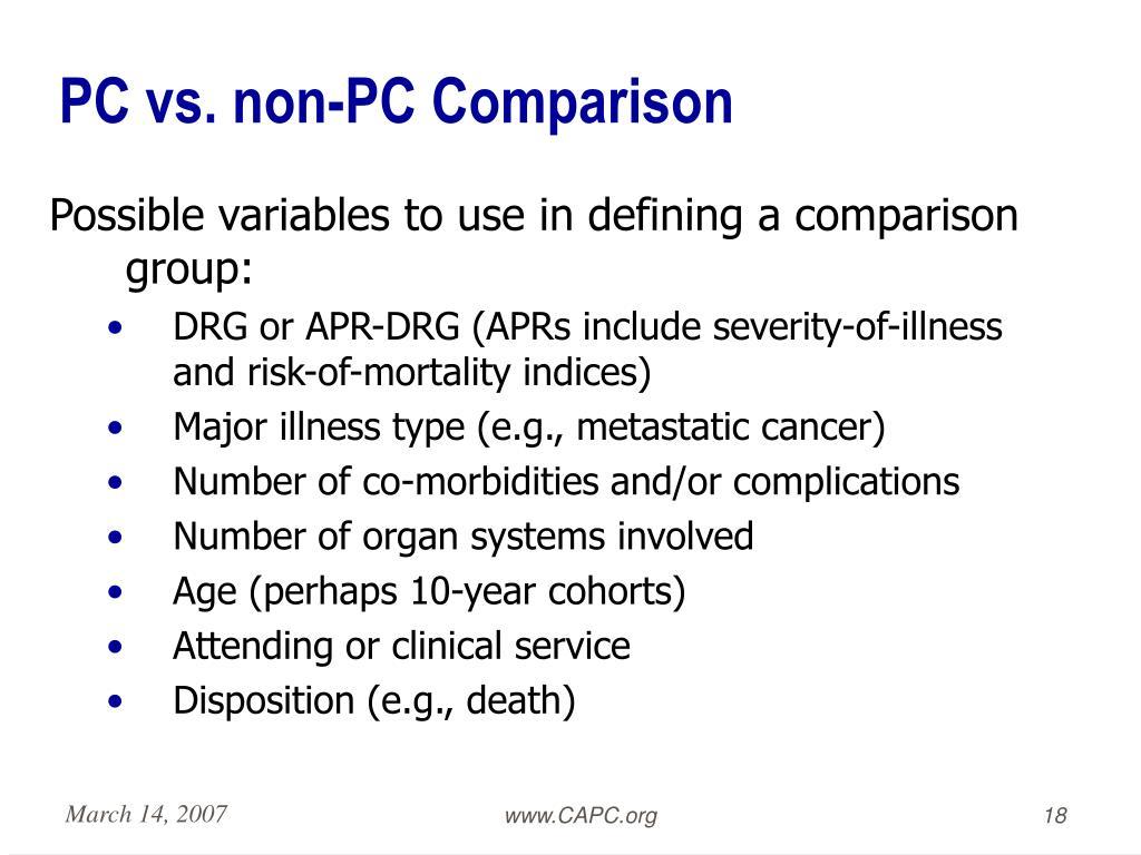 PC vs. non-PC Comparison