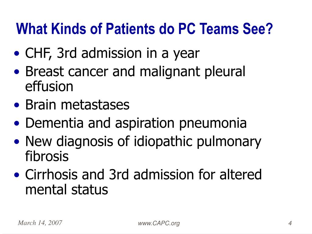 What Kinds of Patients do PC Teams See?