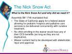 the nick snow act