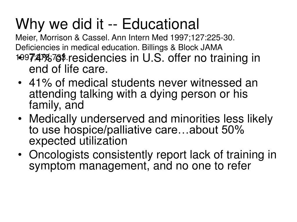 Why we did it -- Educational
