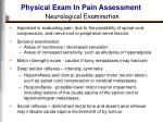 physical exam in pain assessment neurological examination