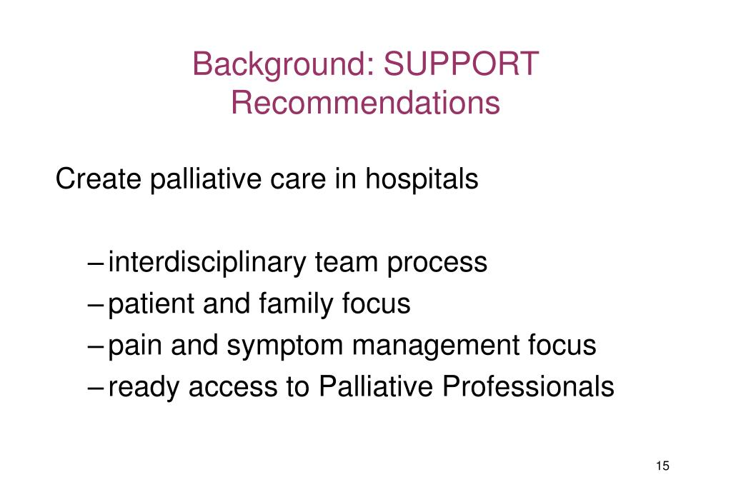 Background: SUPPORT Recommendations