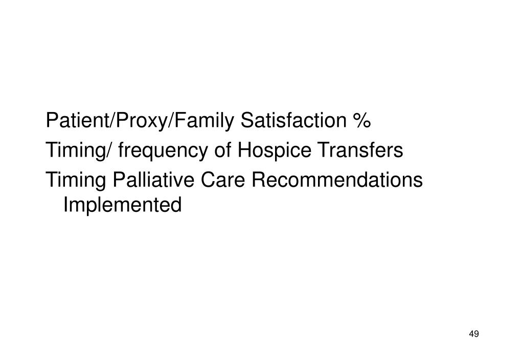 Patient/Proxy/Family Satisfaction %