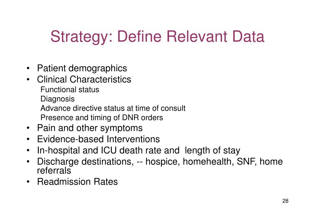 Strategy: Define Relevant Data