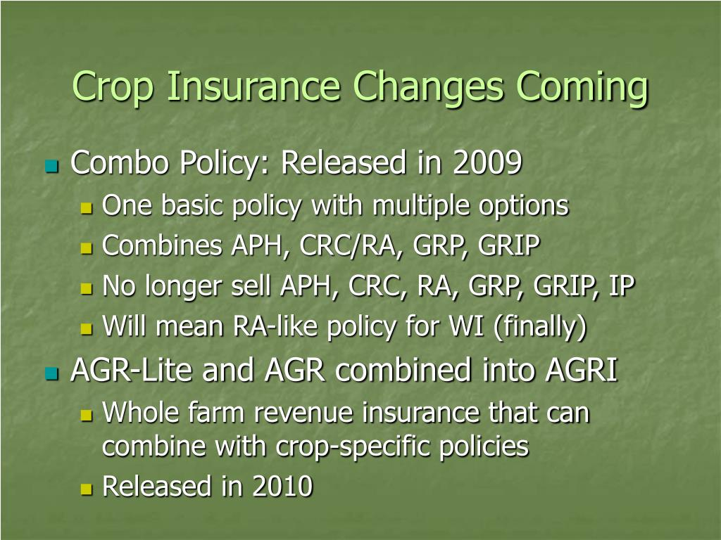 Crop Insurance Changes Coming