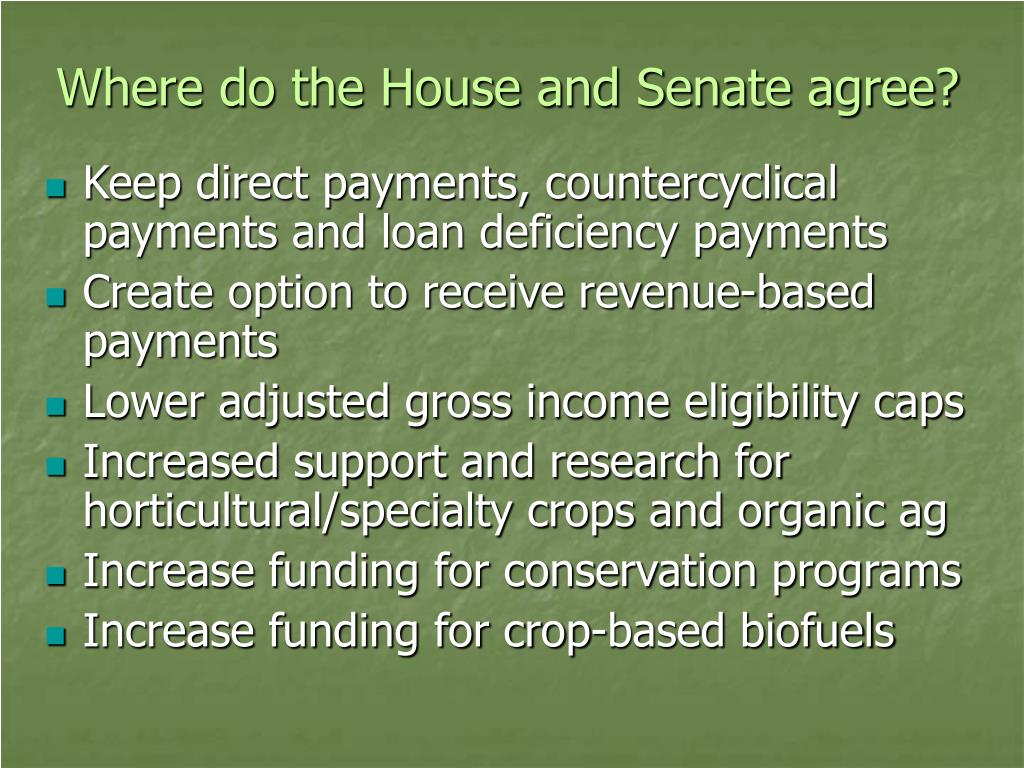 Where do the House and Senate agree?