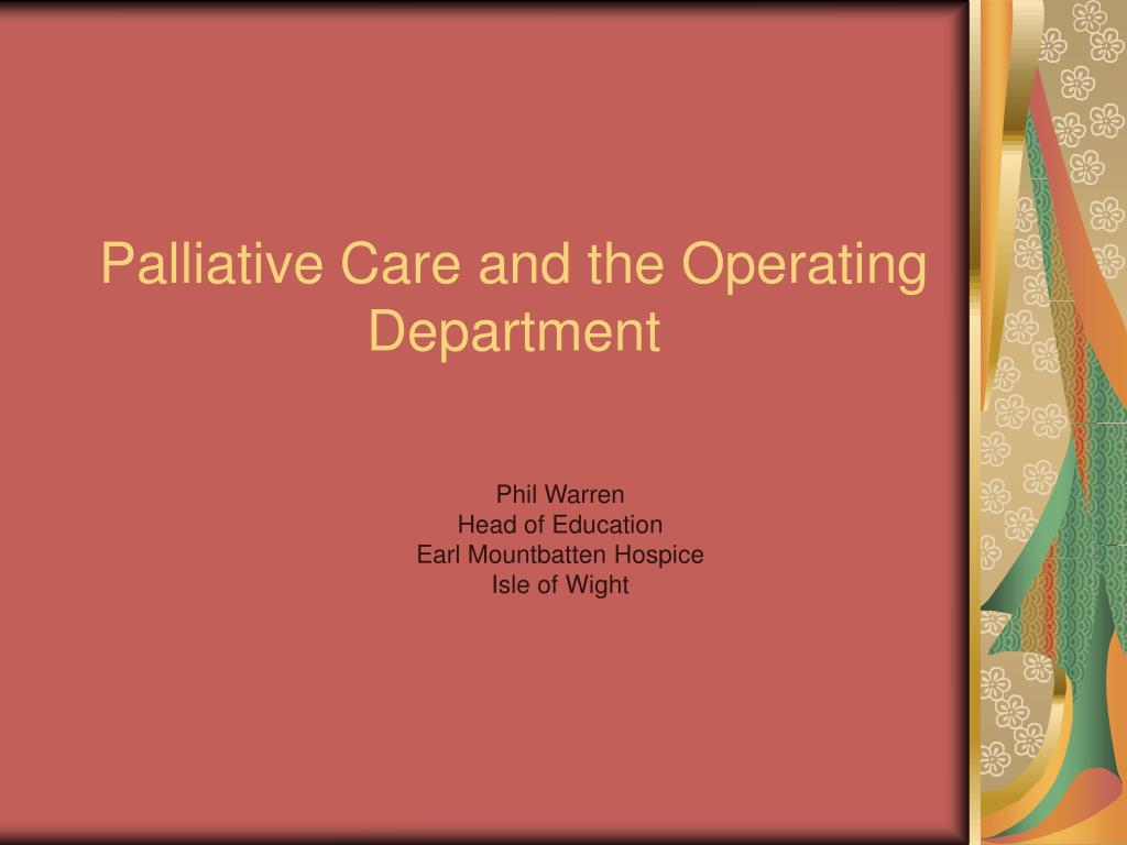 palliative care and the operating department l.