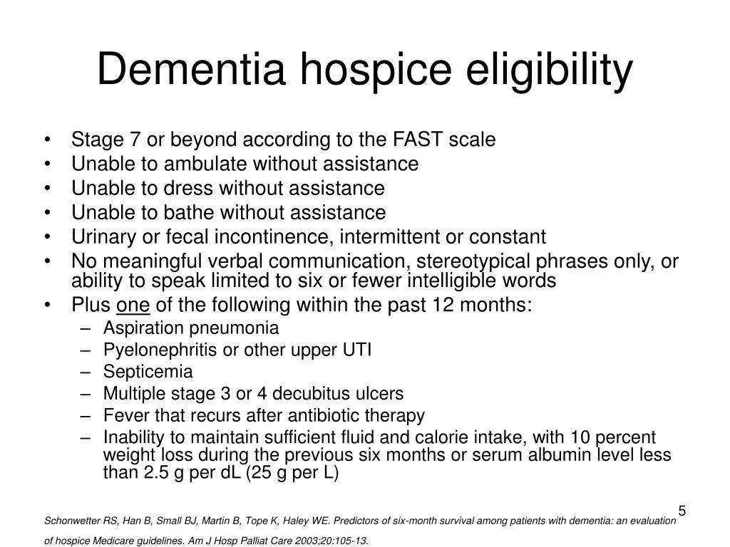Dementia hospice eligibility