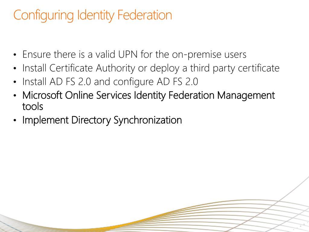 Configuring Identity Federation