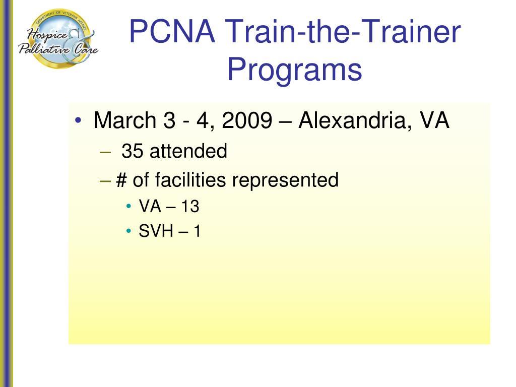 PCNA Train-the-Trainer Programs