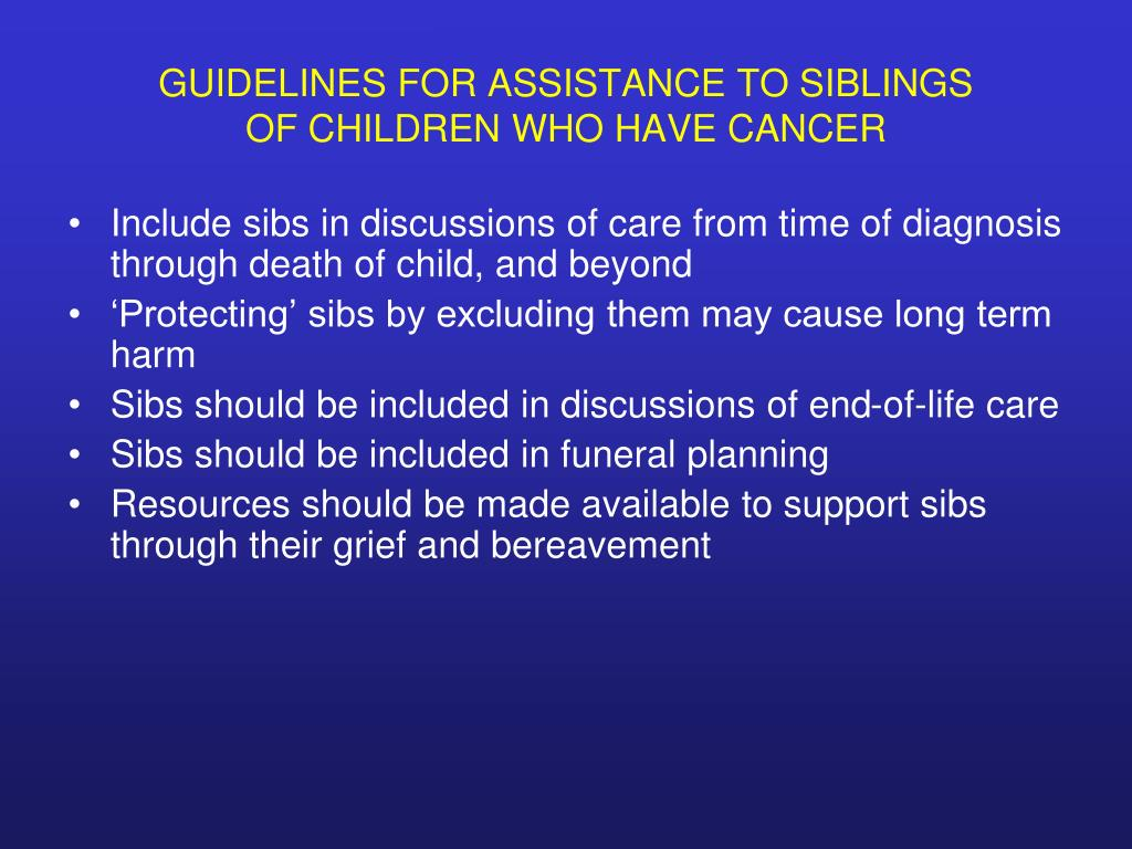 GUIDELINES FOR ASSISTANCE TO SIBLINGS