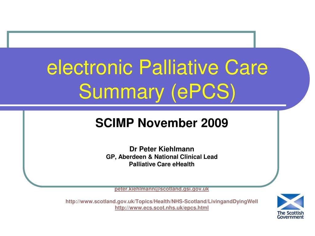 electronic palliative care summary epcs l.
