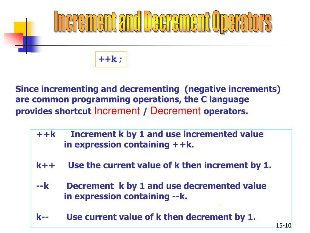Increment and Decrement Operators