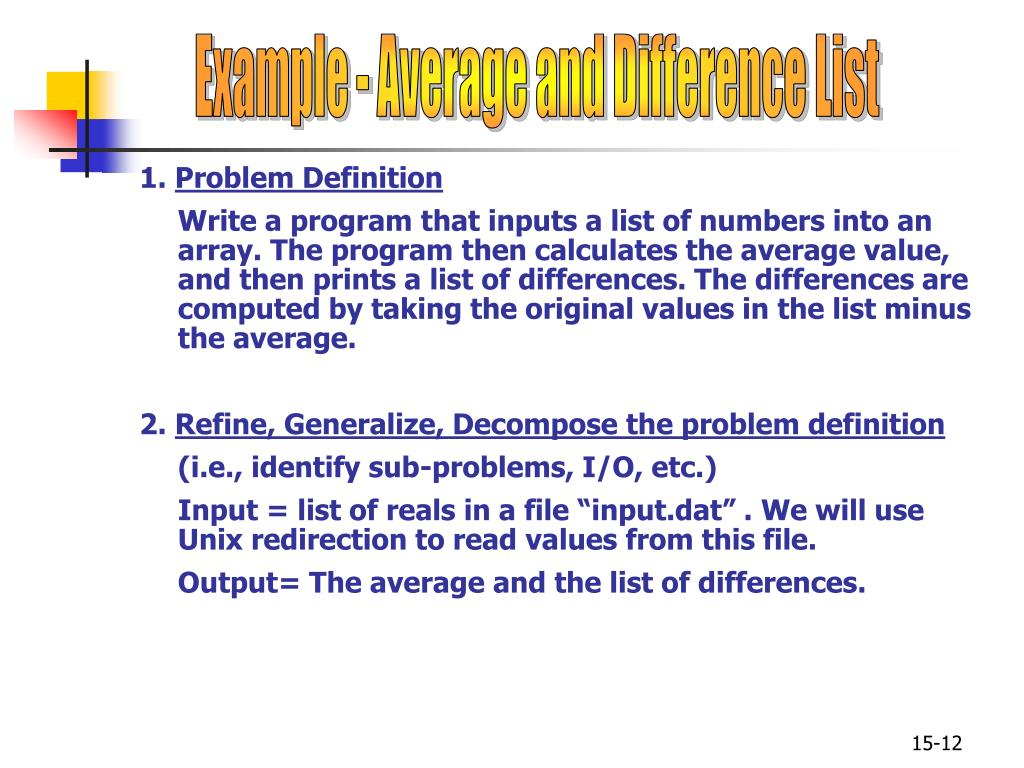 Example - Average and Difference List