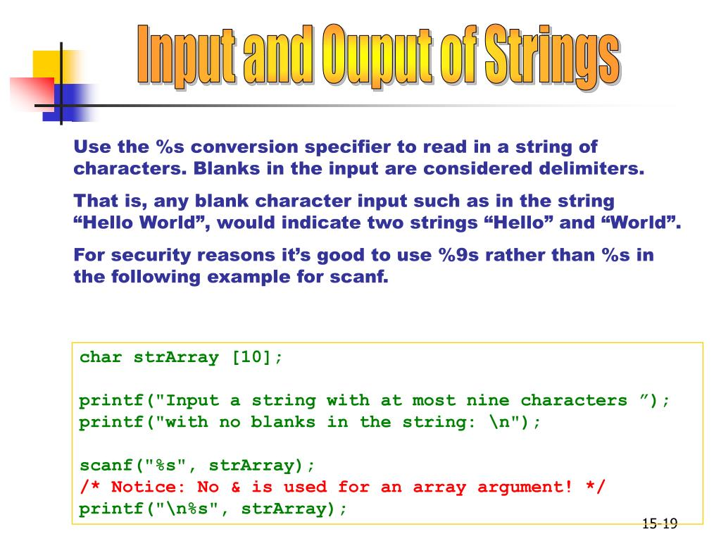 Input and Ouput of Strings