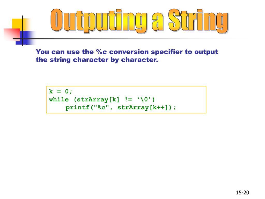Outputing a String