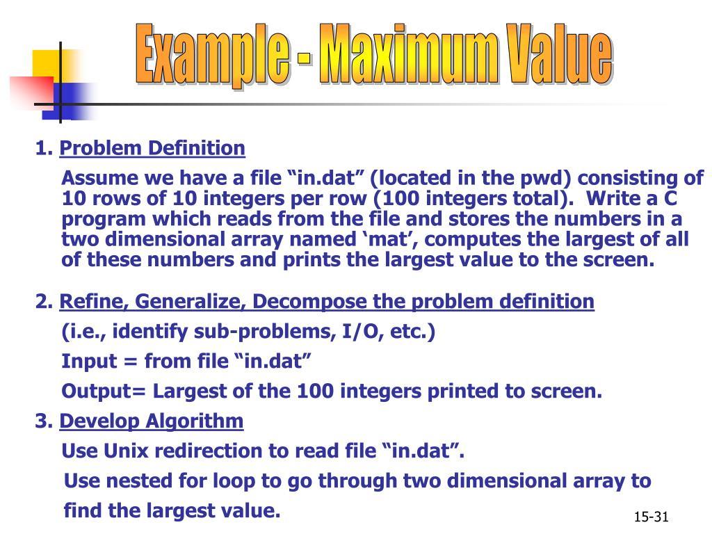 Example - Maximum Value