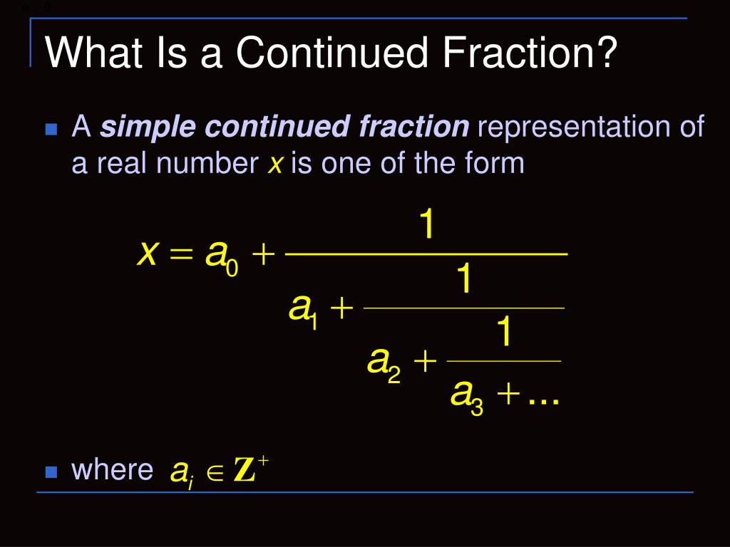 What Is a Continued Fraction?